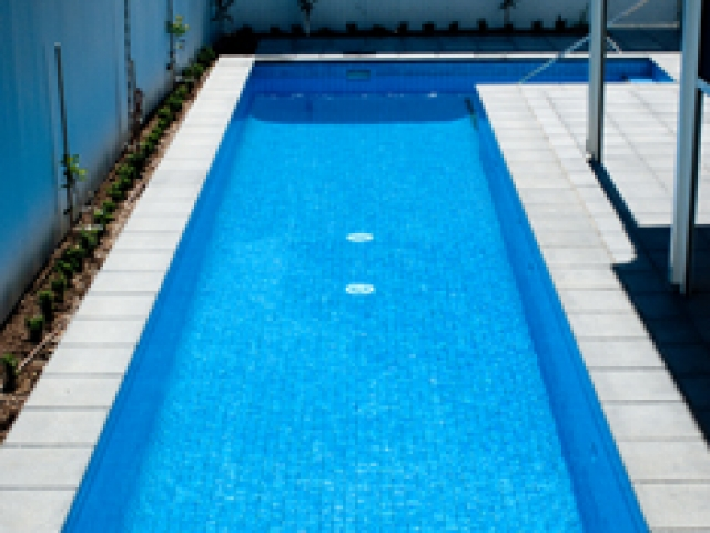 L shaped outdoor pool