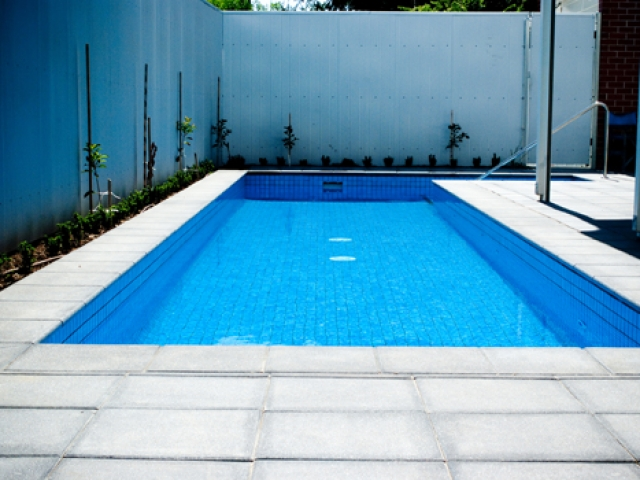 outdoor pool with high quality safety rails